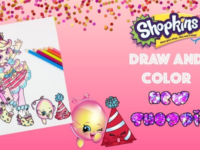 DIY New Party themed Shoppie Doll Drawing Speed Drawing and Color