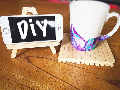 Diy Popsicle stick crafts | phone stand & coaster