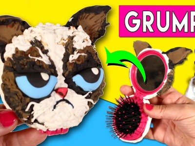 GRUMPY CAT mirror and hairbrush * DIY Grumpy CAT