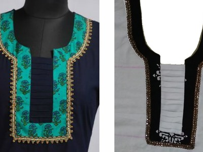How To  Cut And Stitch Designer Neckline With Pleats
