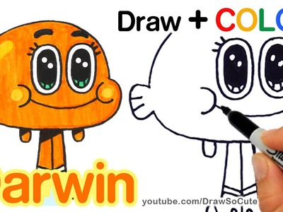 How to Draw + Color Darwin Watterson step by step Easy - The Amazing World of Gumball