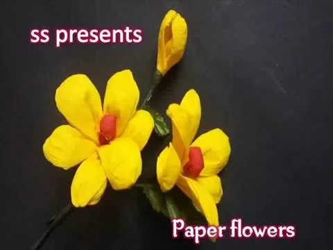 How to Make Crepe Paper Flowers - Flower Making of Crepe Paper - Paper Flower Tutorial