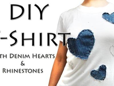 How to make designer T-shirt - DIY Tshirt with Denim Hearts & Rhinestones (Hindi)