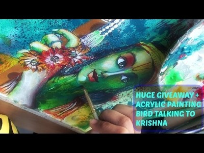 HUGE  GIVEAWAY + Bird talking to the Krishna acrylic painting on watercolor paper. How to paint
