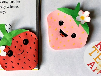Kawaii Strawberry Bookmark Corner - Easy Paper Crafts - Shopkins inspired