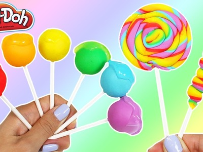 LEARN COLORS Rainbow Play Doh Slime Lollipops & Rainbow Swirl Lollipops | DIY Fun & Easy Art!