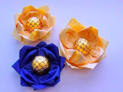 Origami Lotus (Water Lily) of Wipes. Flowers made of Paper for Beginners. Simply and easily