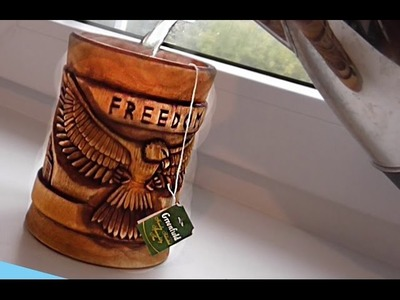 Wood carving  | Carved cup with an eagle | handmade gift art | DIY
