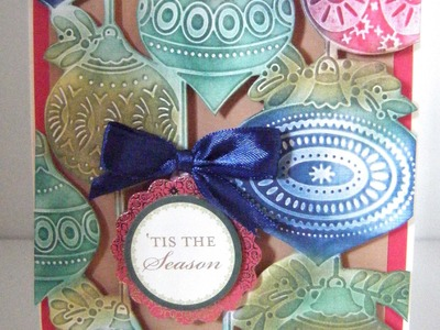 226.Cardmaking Project: Anna Griffin Christmas Bauble Embossed Inked Card