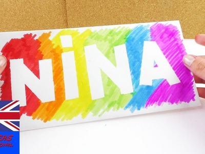 Cool Nametag in Rainbow colors | Decoration idea for your room