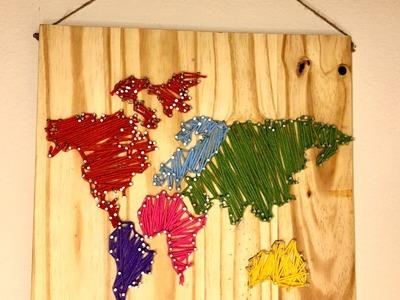 DIY World Map Wall Nail String Art [timelapse]