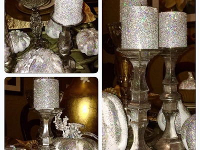 Dollar Tree DIY Faux Mercury Glass Candlestick Holders (Z Gallerie Inspired)