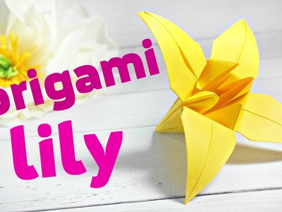 Easy modular origami lily for children.kids. Origami lily flower(folding instructions)for beginners