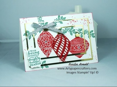 Handmade Triple Step Stamping Christmas Card using Stampin' Up! Embellished Ornaments