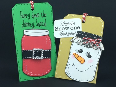 Jar Stamp Snowman and Santa Christmas Tags