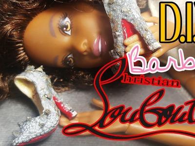 Polymer Clay Heels: Glitter Louboutin Barbie Shoes.Heels