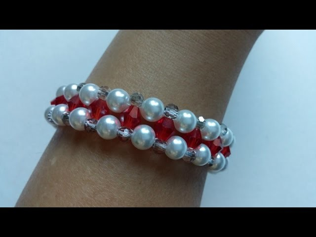 Swarovski crystal bicone  beads and pearls beads  bracelet . Video tutorial  FOR BEGINNERS