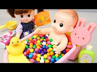 Baby Doll Bath Time DIY Doctor Syringe Slime English Learn Colors Orbeez Surprise Toy How To Make