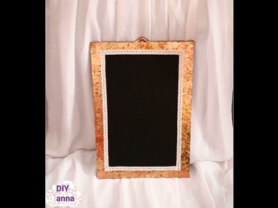 Decoupage chalkboard with gold leaves gilding DIY ideas decorations craft tutorial. URADI SAM