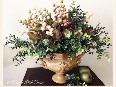 DIY Fall Arrangement Bushberry Eucalyptus- Create an Arrangement Without Using Any Flowers