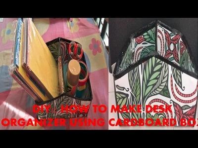 DIY :: How to make Desk Organizer using waste cardboard box!!