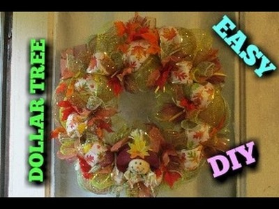 FALL THANKSGIVING DECO MESH WREATH TUTORIAL  ~DOLLAR TREE~