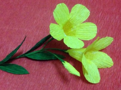 How to Make Allamanda Crepe Paper flowers - Flower Making of Crepe Paper - Paper Flower Tutorial