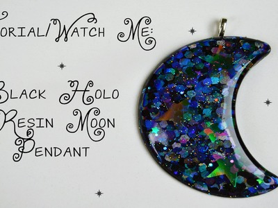 Requested Tutorial - Black Holo Crescent Moon Pendant