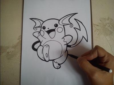 COMO DIBUJAR A RAICHU - POKEMON. how to draw raichu - pokemon