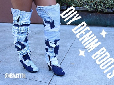DENIM KNEE HIGH BOOTS! DIY, SUPER EASY!