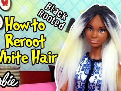 DIY Barbie Hair as Black Rooted White Hair - How to Make Barbie Hair Reroot