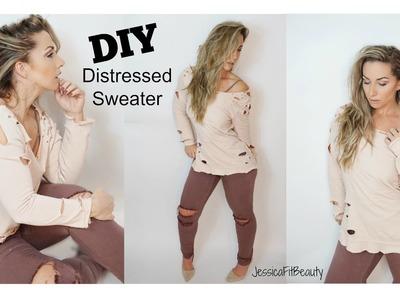 DIY DISTRESSED SWEATSHIRT | YEEZY & KARDASHIAN INSPIRED| JESSICAFITBEAUTY