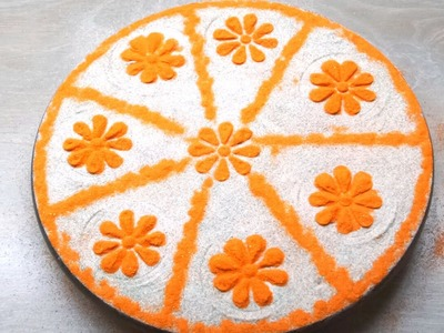 DIY Easy and Simple Rangoli Design. How to Make Rangoli Design. Colour Rangoli Design.