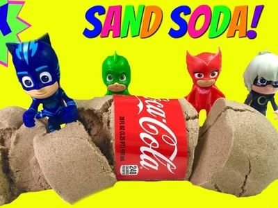 DIY How To Make Kinetic Sand Coca Cola - PJ Masks Turn Luna Girl's Soda into Sand!