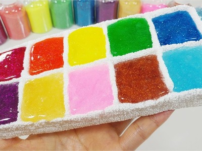 DIY How To Make 'Rainbow Colors Cosmetic eyeshadow Jelly Slime Case'
