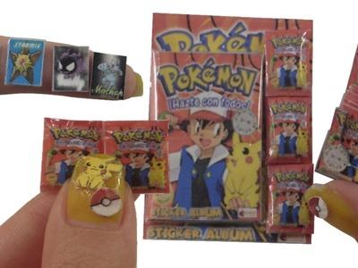 DIY Miniature ★Sticker Album Pokemon★ for Dollhouse TUTORIAL - Crafts