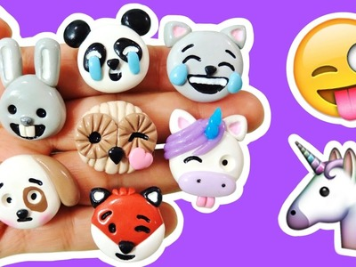 DIY UNICORN, PANDA, CAT & MORE EMOJI! Polymer Clay Tutorial