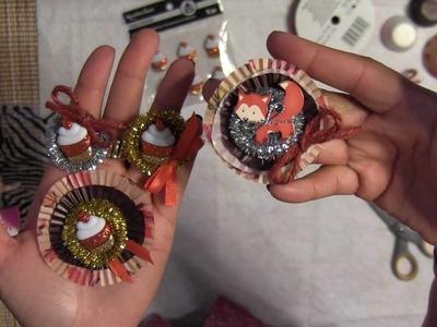 Glitter Cupcake Rosette DIY Embellishments -  Fall