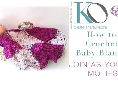 How to Crochet MOTIF Baby Blanket Join as you Go Motifs Be So Sporty Yarn