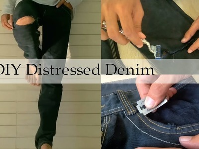 How to: DIY Distressed.Ripped Denim Jeans Tutorial || DIY Mens Distressed Jeans 2016