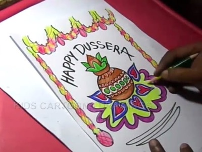 How to Draw Dussehra Color Greeting Drawing Step by Step for Kids