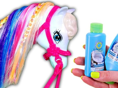 How to Dye Barbie's Horse's Hair Rainbow Colors | DIY Barbie Doll Hair Coloring Videos on DCTC