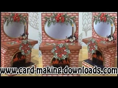 How To Make A 3D Fireplace Card www.card-making-downloads.com