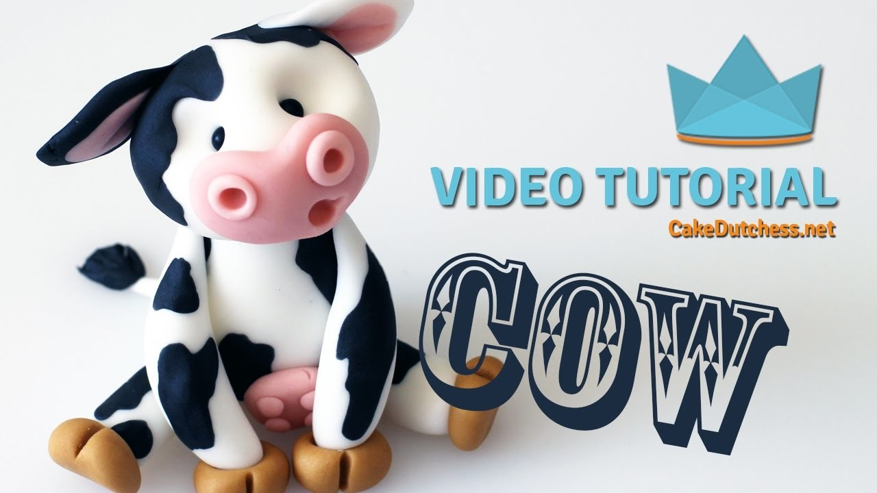 How to make a cute Cow Cake Topper - Cake Decorating Tutorial with Cake Dutchess