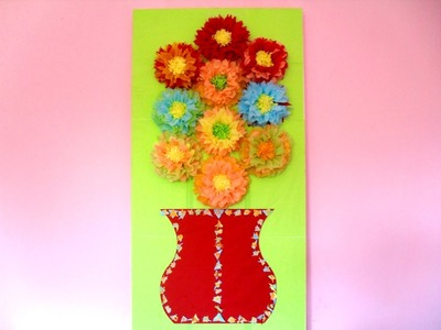 How to Make A Painting with Tissue Paper Flowers Step by Step