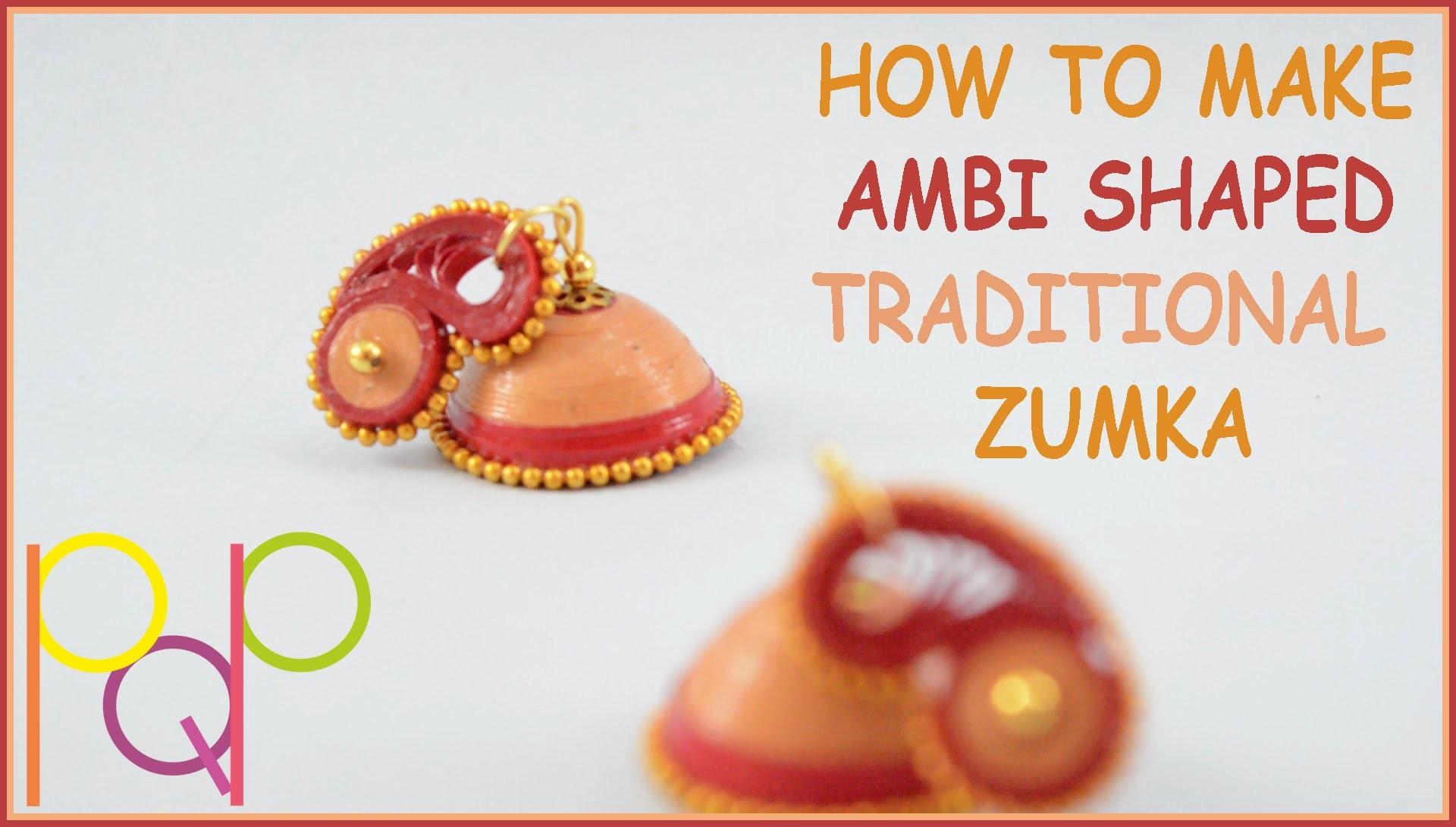 HOW TO MAKE AMBI SHAPED STUD JHUMKA | BASIC | PQP #016