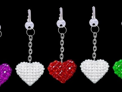 How To Make Crystal Beads Keychains At Home | DIY Home Made Keychains | ♥Heart♥