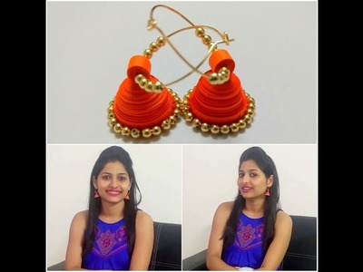 How to make paper quilling jhumka ( DIY Earrings)