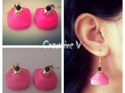 How to Make Quilling Square Shape Jhumka. Tutorial