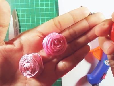 How to make ribbon rose. cara membuat rose dari pita